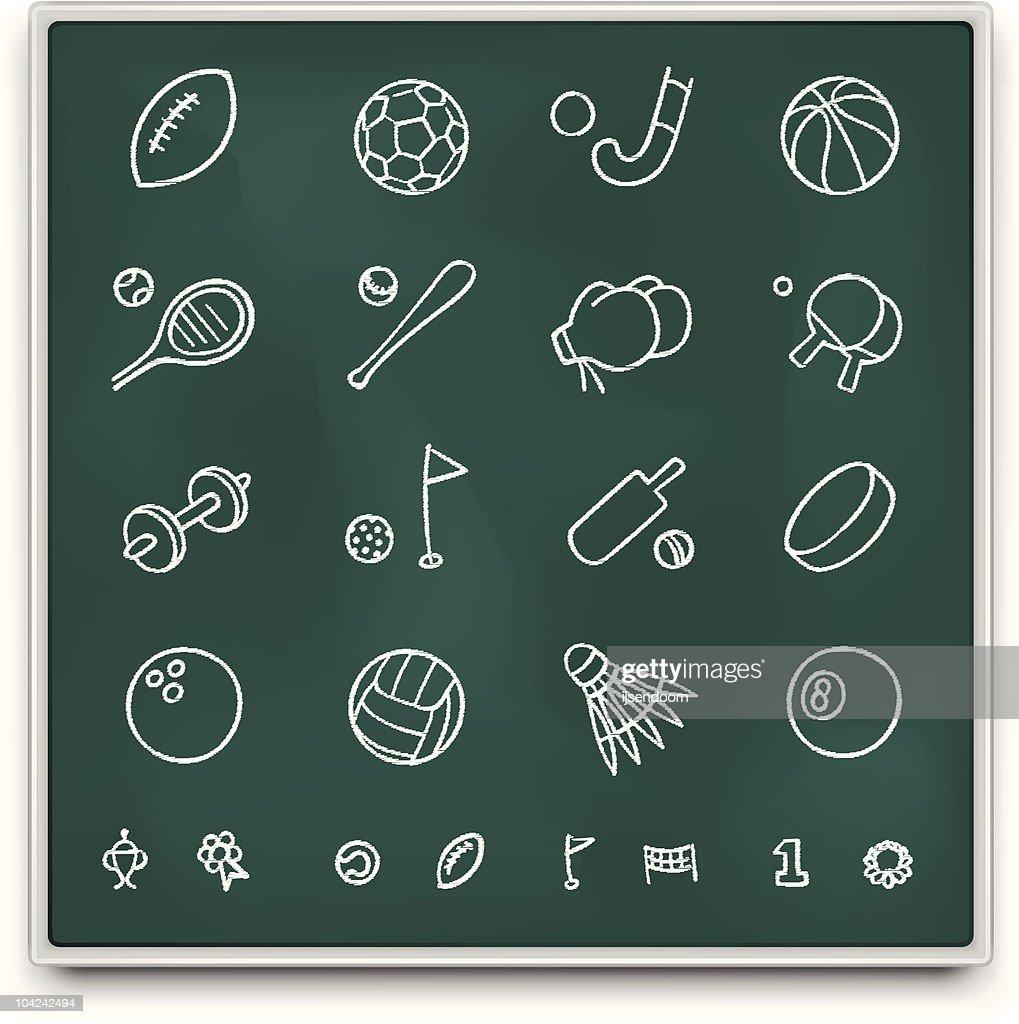 Chalkboard sport icons