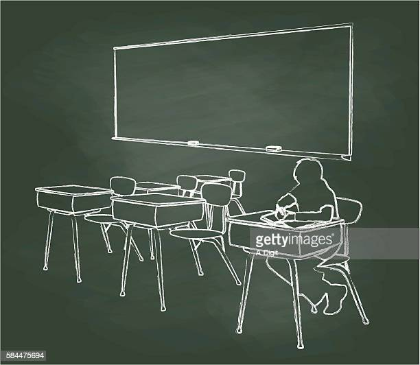 tafel-schüler allein im klassenzimmer - klassenzimmer stock-grafiken, -clipart, -cartoons und -symbole
