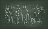 Chalkboard Student Chats Vector Illustration