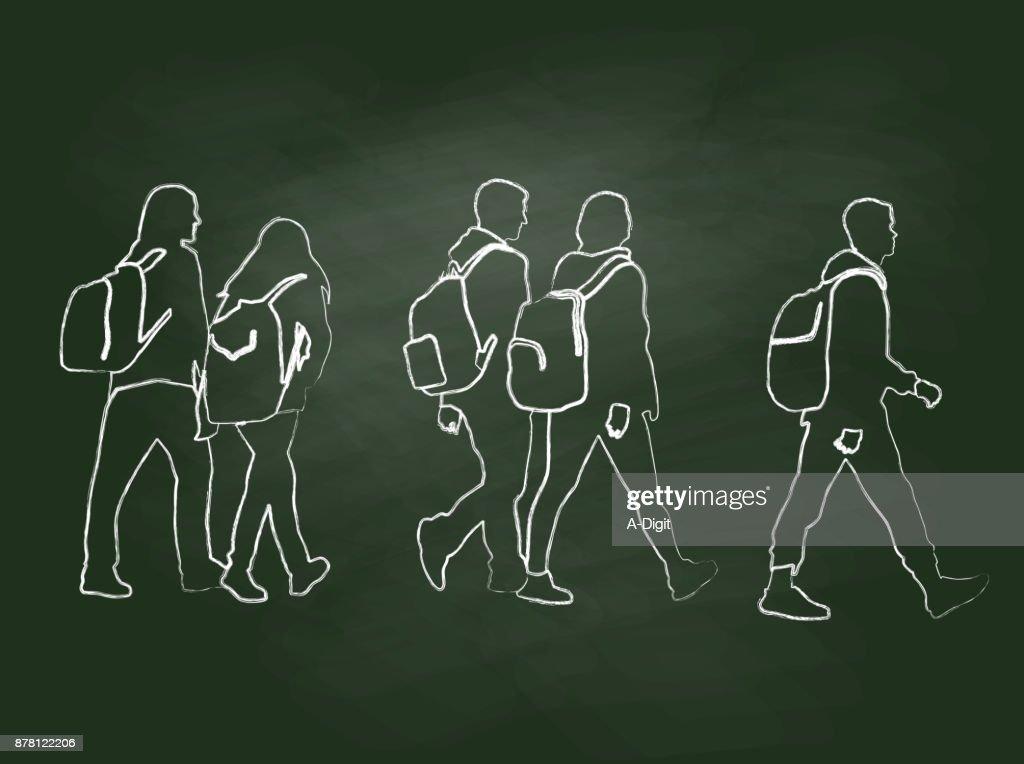 Chalkboard Student Walk : stock illustration