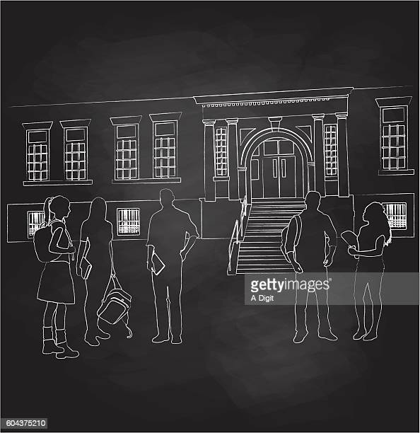 chalkboard students and teacher out of school - high school student stock illustrations, clip art, cartoons, & icons