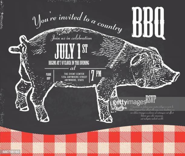 Chalkboard style Country pork BBQ invitation design template