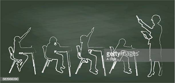 chalkboard teacher and small classroom - instructor stock illustrations