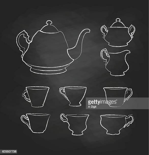chalkboard teatime set - afternoon tea stock illustrations, clip art, cartoons, & icons