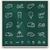 Chalkboard transport icons
