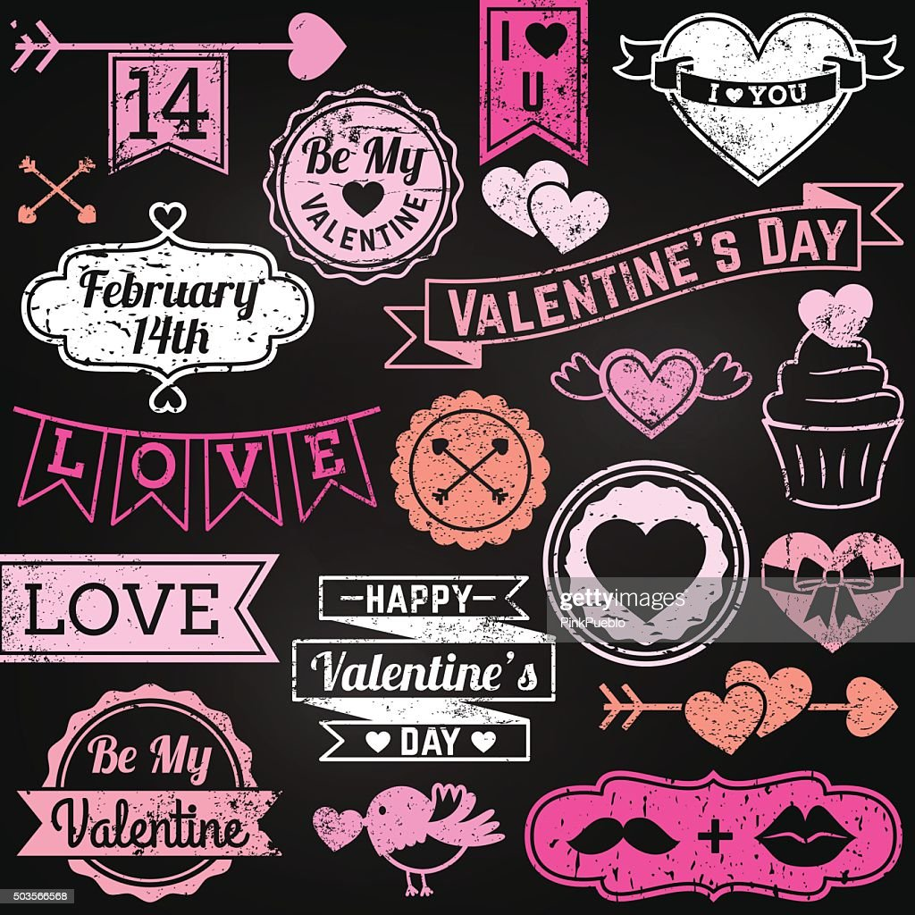 Chalkboard Valentines Day Ornaments And Badges In Vector Format
