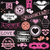Chalkboard Valentine's Day Ornaments and Badges in Vector Format