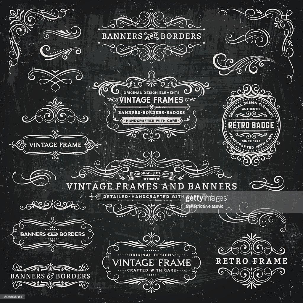 黒板ビンテージフレーム、バナーやバッジ : ストックイラストレーション