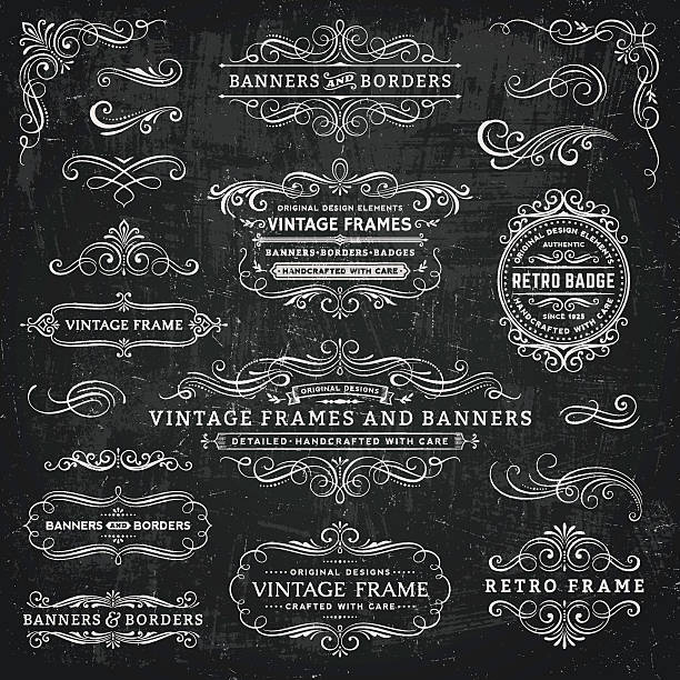 chalkboard vintage frames, banners and badges - swirl stock illustrations