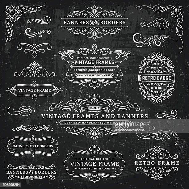 stockillustraties, clipart, cartoons en iconen met chalkboard vintage frames, banners and badges - bord bericht