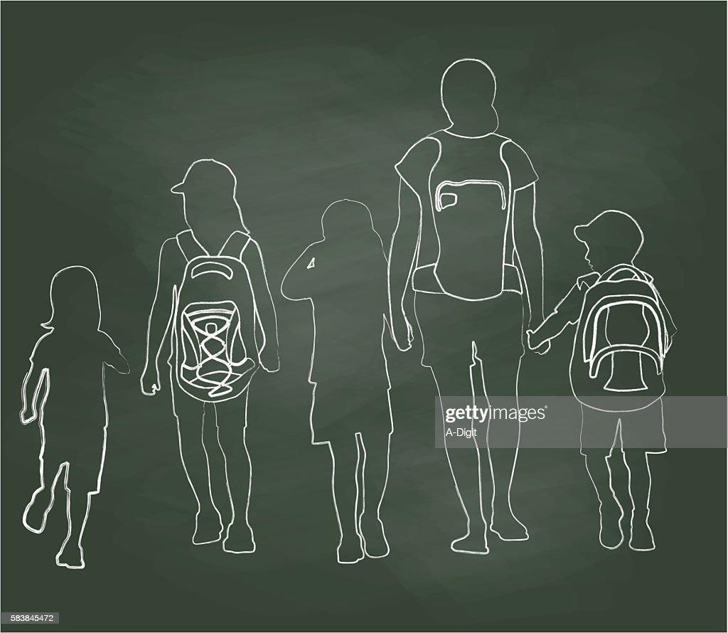 Chalkboard Walking To School Kids