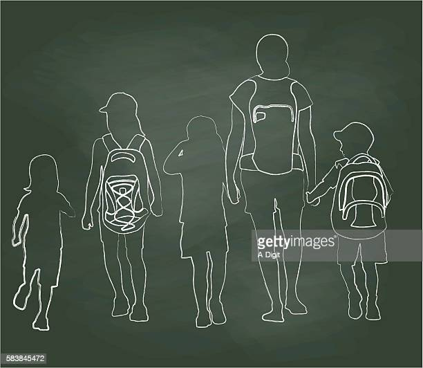 chalkboard walking to school kids - nanny stock illustrations