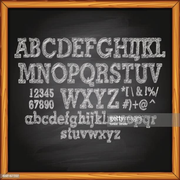 chalkboard with lettering - chalk art equipment stock illustrations, clip art, cartoons, & icons