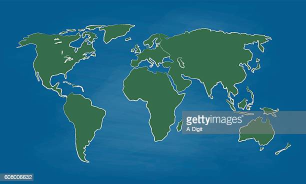Chalkboard World Map Colored Vector