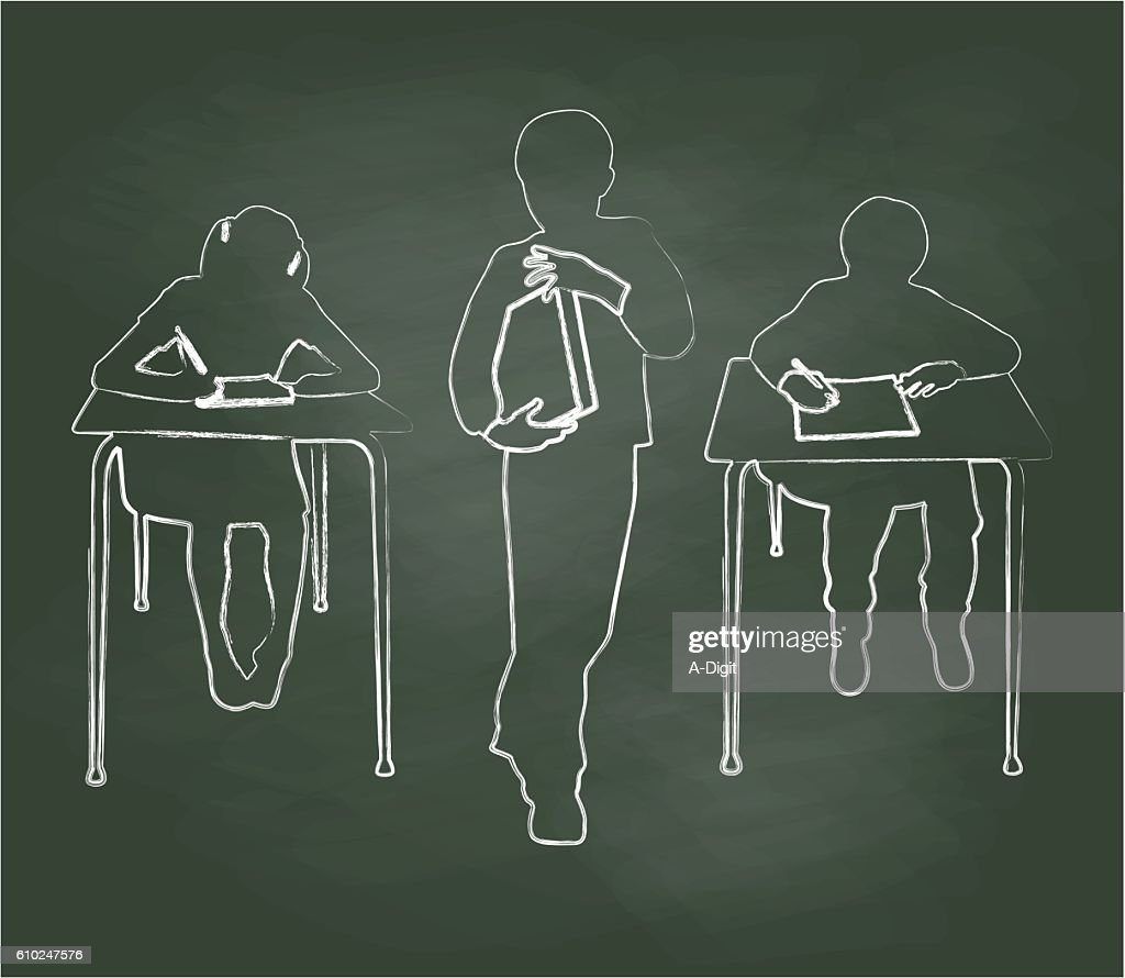 Chalkboard Young Students At Work