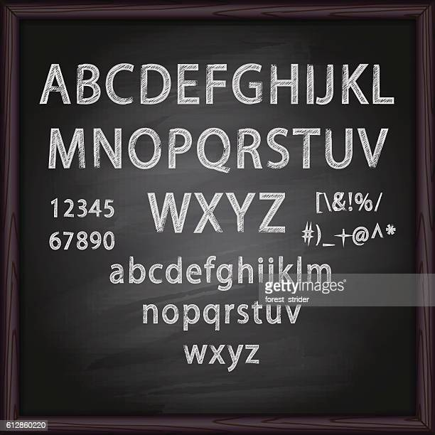 stockillustraties, clipart, cartoons en iconen met chalked alphabet - bord bericht