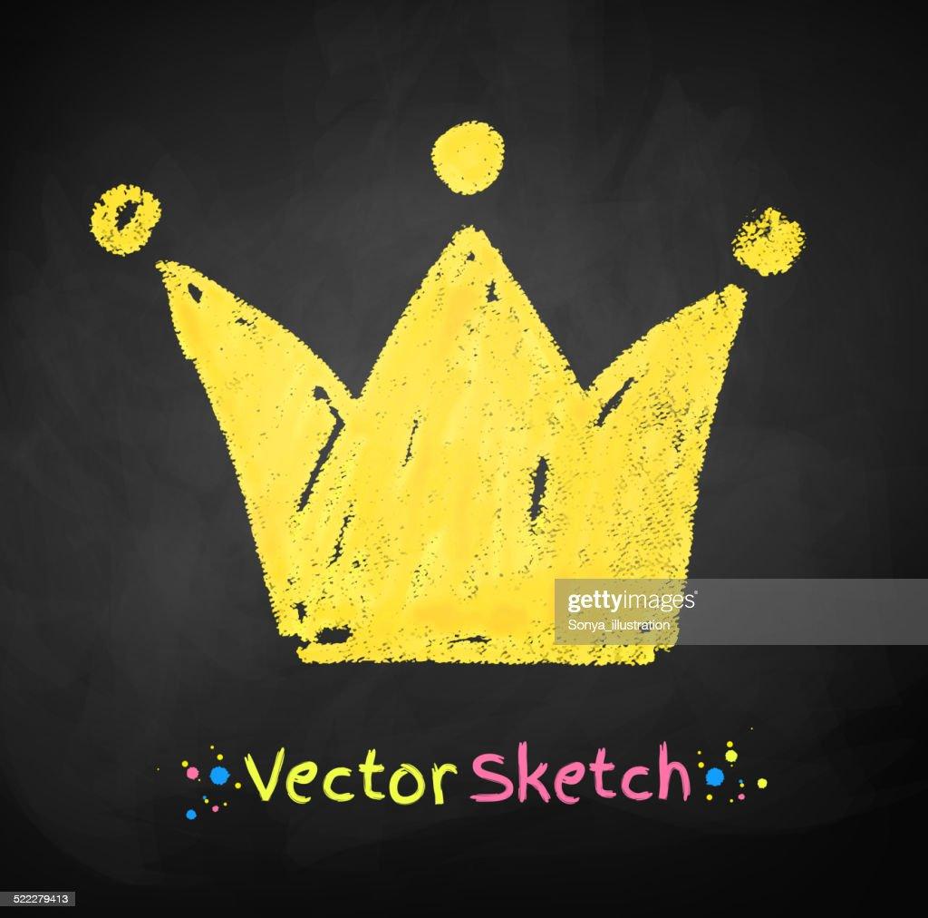 Chalked childlike drawing of crown.