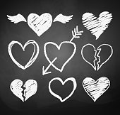 Chalked hearts.