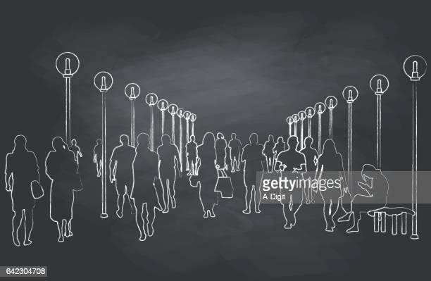 chalk-kids - commuter stock illustrations, clip art, cartoons, & icons