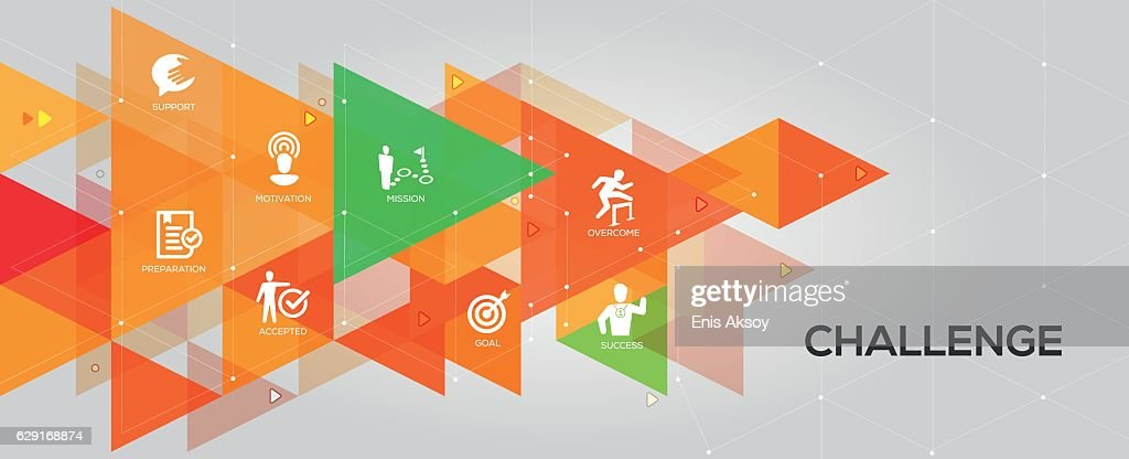 Challenge banner and icons : stock illustration