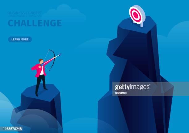 herausforderung, geschäftsmann auf der spitze des berges stehen und schießen ein weiteres ziel auf der spitze des berges - punkten stock-grafiken, -clipart, -cartoons und -symbole