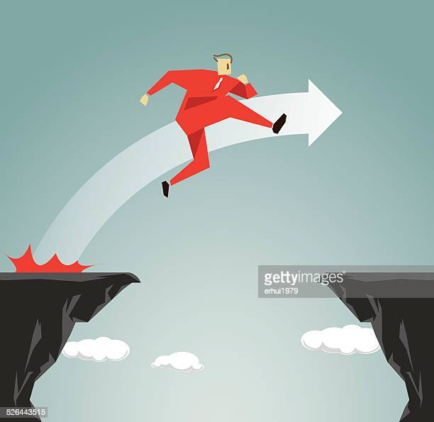 challenge, incentive, success, jumping,conquering adversity,ravine, cliff, challenge,competition - high jump stock illustrations