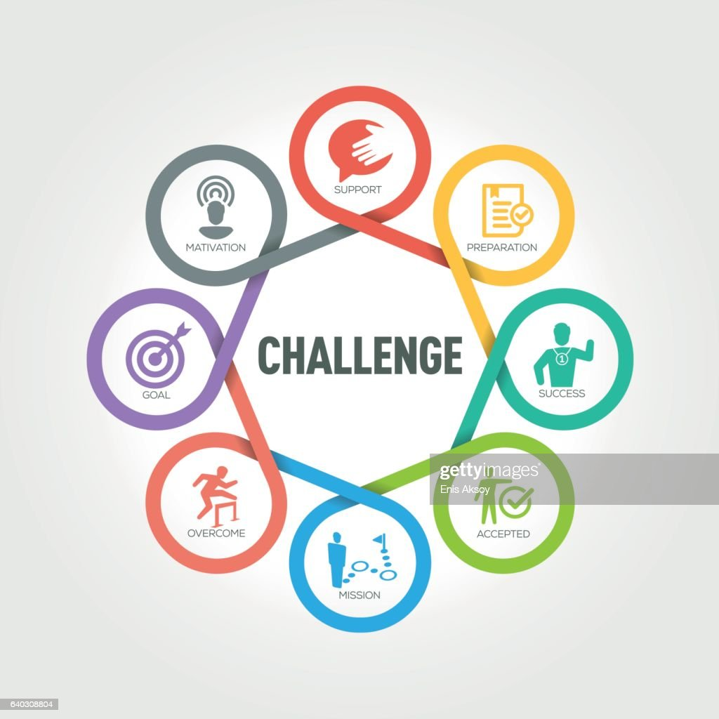 Challenge infographic with 8 steps, parts, options