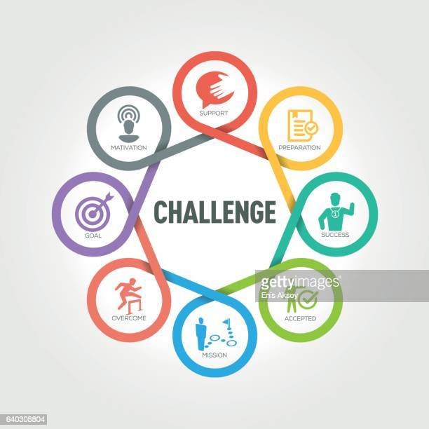 challenge infographic with 8 steps, parts, options - courage stock illustrations, clip art, cartoons, & icons