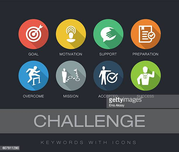 illustrations, cliparts, dessins animés et icônes de challenge keywords with icons - aspiration