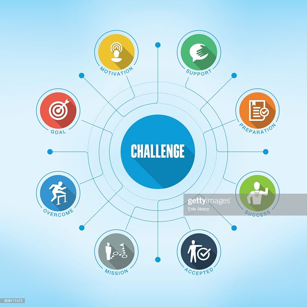 Challenge keywords with icons : stock illustration