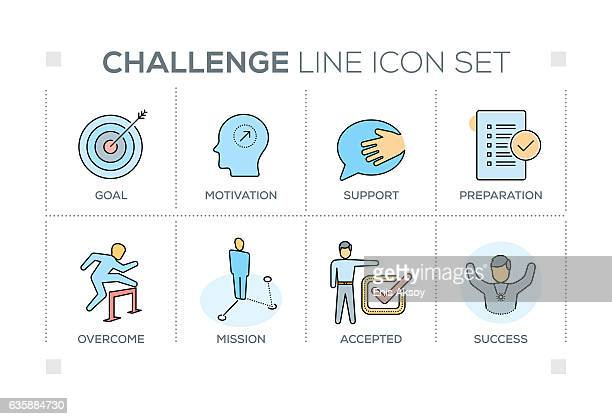 Challenge keywords with line icons