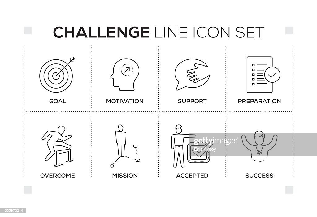 Challenge keywords with monochrome line icons : stock illustration