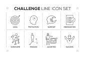 Challenge keywords with monochrome line icons