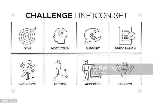 challenge keywords with monochrome line icons - courage stock illustrations
