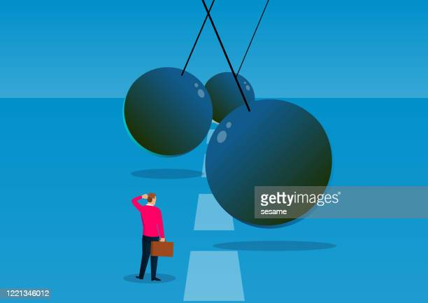 challenges, adventures and opportunities, the swinging ball of iron chains hinders the way forward for businessmen - adversity stock illustrations