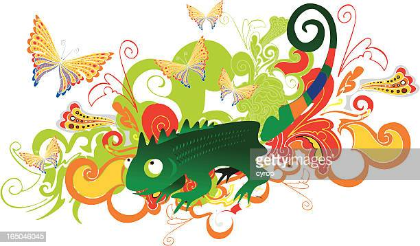chameleon garden - chameleon stock illustrations, clip art, cartoons, & icons