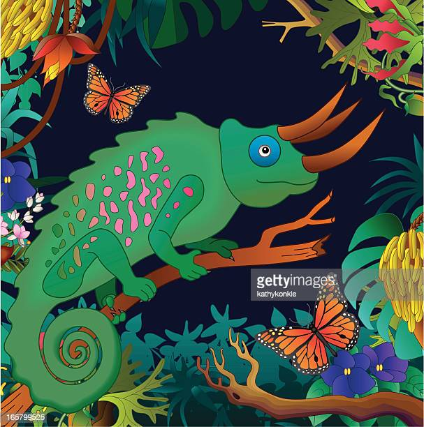 chameleon in the jungle - chameleon stock illustrations, clip art, cartoons, & icons