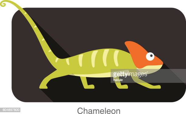 chameleon walking in black background, vector illustration - chameleon stock illustrations, clip art, cartoons, & icons