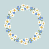 chamomile and forget-me-not flowers pattern on black background