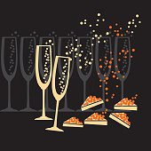 champagne and caviar silhouette on black background