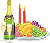 Champagne and fruits