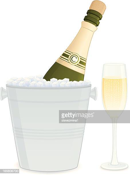 champagne bottle and bucket - ice bucket stock illustrations, clip art, cartoons, & icons