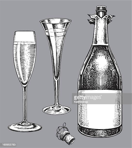 Champagne Bottle and Fluted Glasses