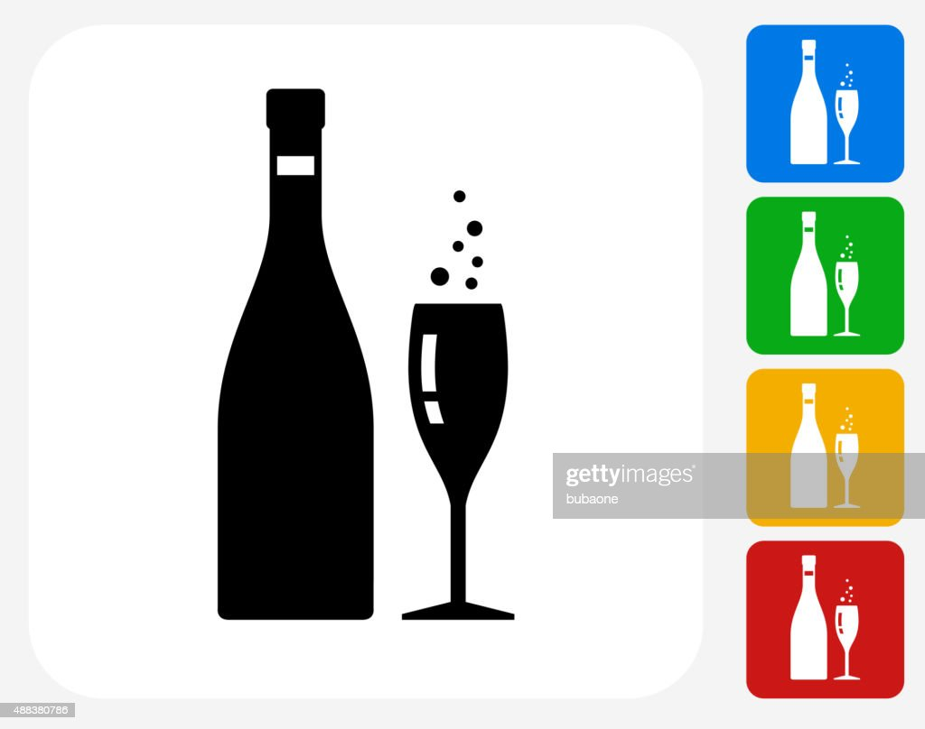 Champagne Bottle and Glass Icon Flat Graphic Design