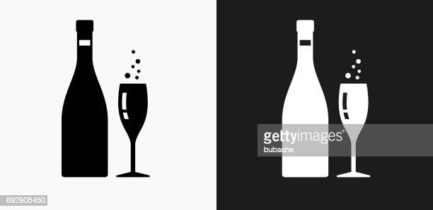 Champagne Bottle and Glass Icon on Black and White Vector Backgrounds