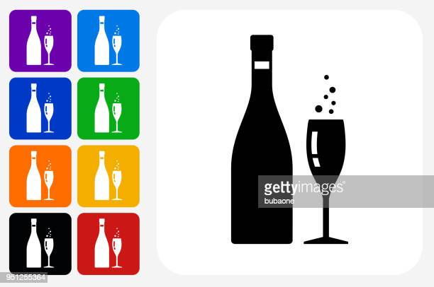 Champagne Bottle and Glass Icon Square Button Set