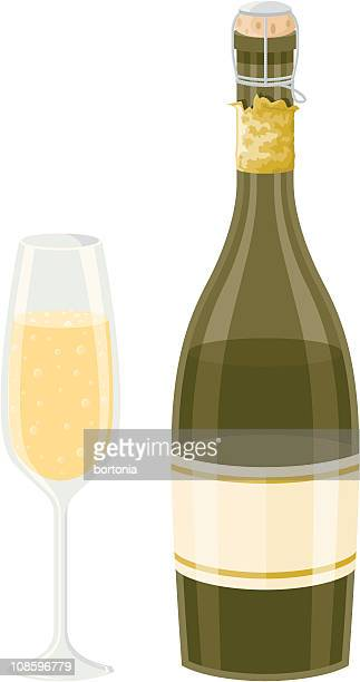 champagne bottle and glass - champagne cork stock illustrations, clip art, cartoons, & icons