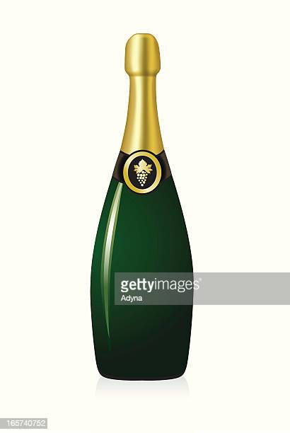 champagne bottle - champagne cork stock illustrations, clip art, cartoons, & icons