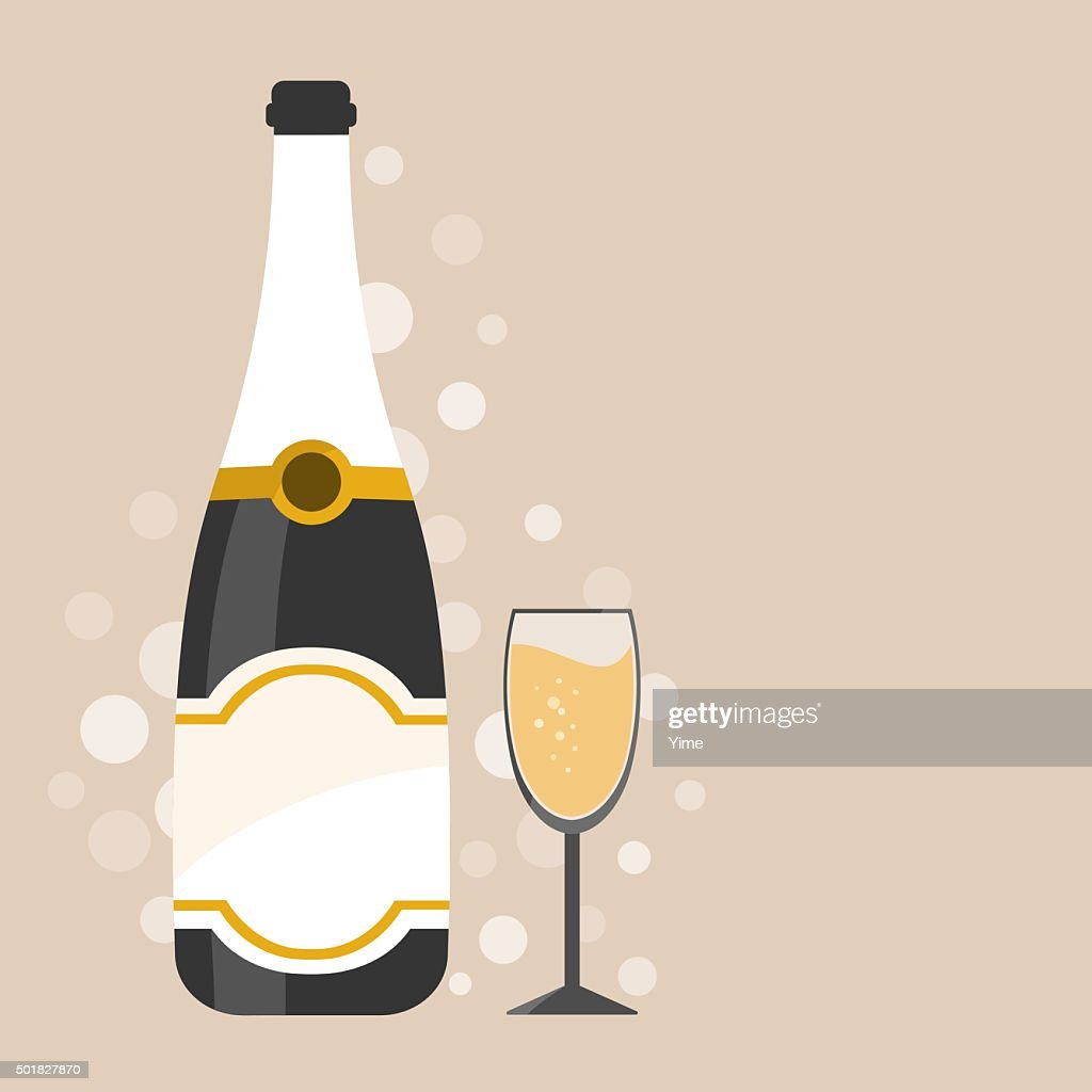 Champagne bottle with decorations
