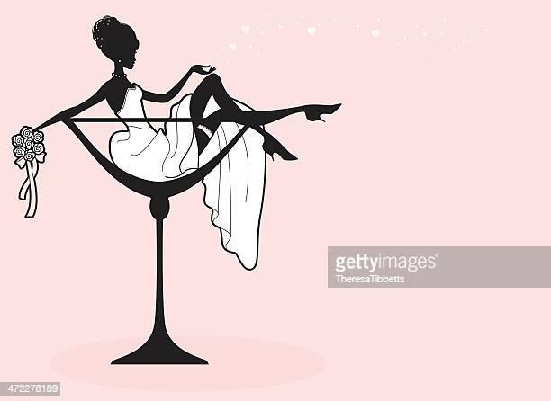 ilustraciones, imágenes clip art, dibujos animados e iconos de stock de champán novia - vestido de novia